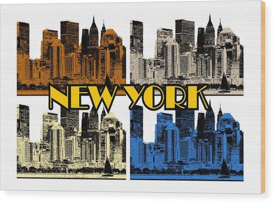 New York 4 Color Wood Print