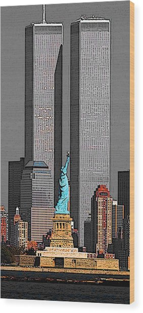New York 911 Memory - Twin Towers And Statue Of Liberty Wood Print