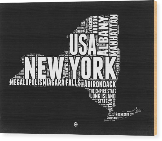 New York Black And White Word Cloud Map Wood Print
