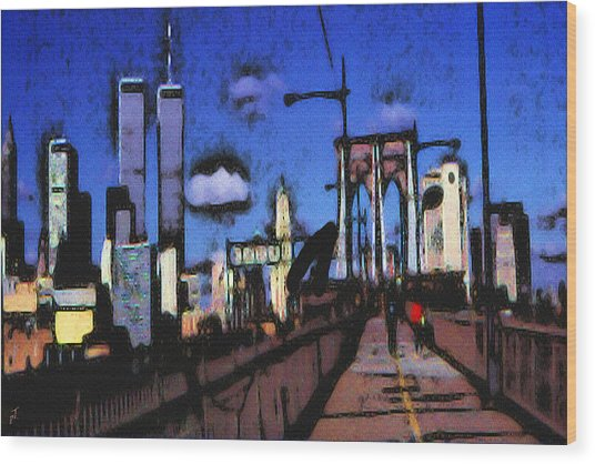 New York Blue - Modern Art Wood Print