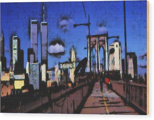 New York Blue - Modern Art Painting Wood Print