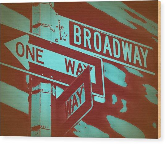 New York Broadway Sign Wood Print