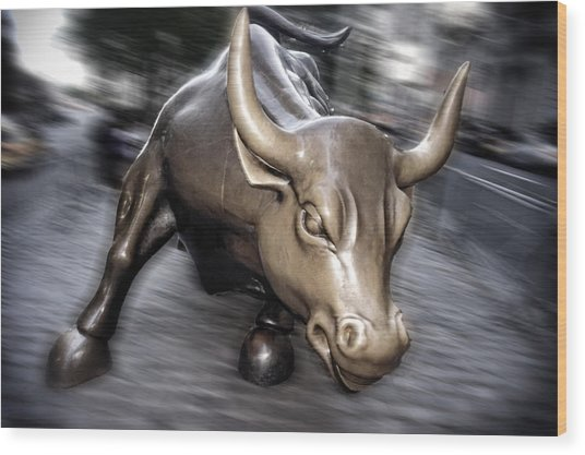 Wood Print featuring the photograph New York Bull Of Wall Street by Juergen Held