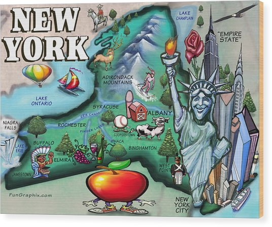 New York Cartoon Map Wood Print