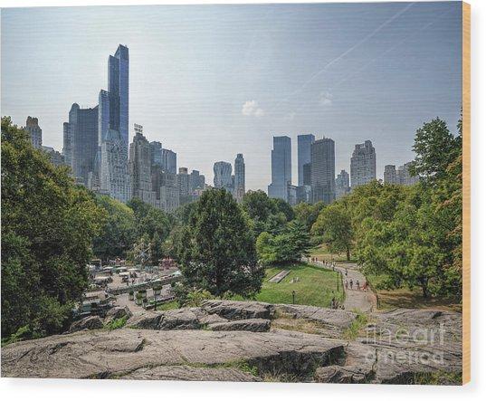 New York Central Park With Skyline Wood Print