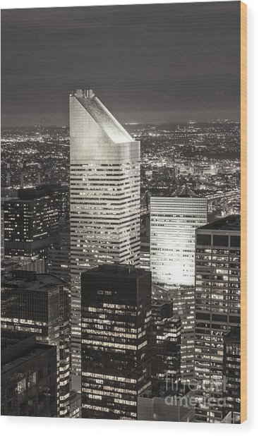 Wood Print featuring the photograph New York Citigroup Center  by Juergen Held