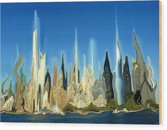 New York City Skyline 2100 - Modern Artwork Wood Print