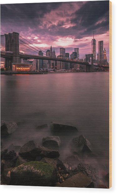 New York City Brooklyn Bridge Sunset Wood Print
