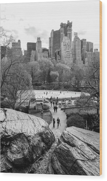 New York City Central Park Ice Skating Wood Print