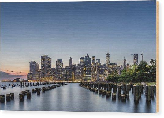 New York City Dusk Wood Print