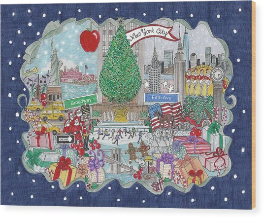 New York City Holiday Wood Print