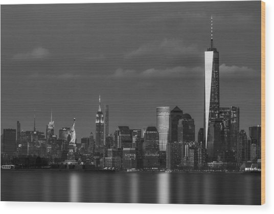 Wood Print featuring the photograph New York City Icons Bw by Susan Candelario