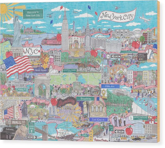 New York City On A Sunny Day Wood Print