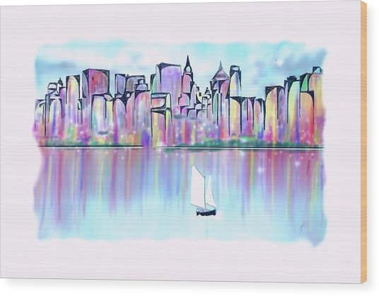Wood Print featuring the digital art New York City Scape by Darren Cannell