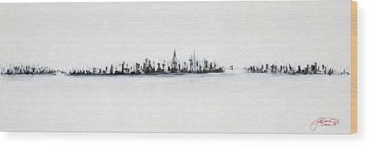 New York City Skyline Black And White Wood Print