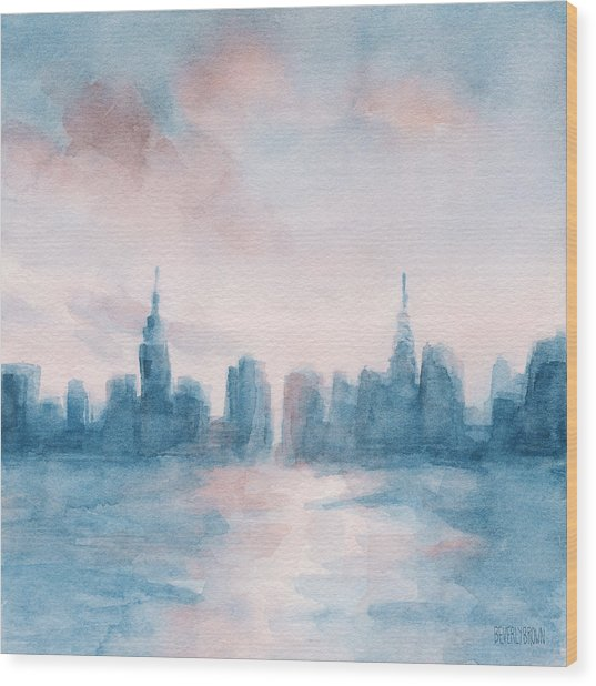 New York City Skyline Coral And Aqua Wood Print