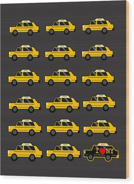 New York City Taxi Wood Print