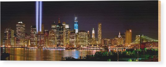 New York City Tribute In Lights And Lower Manhattan At Night Nyc Wood Print