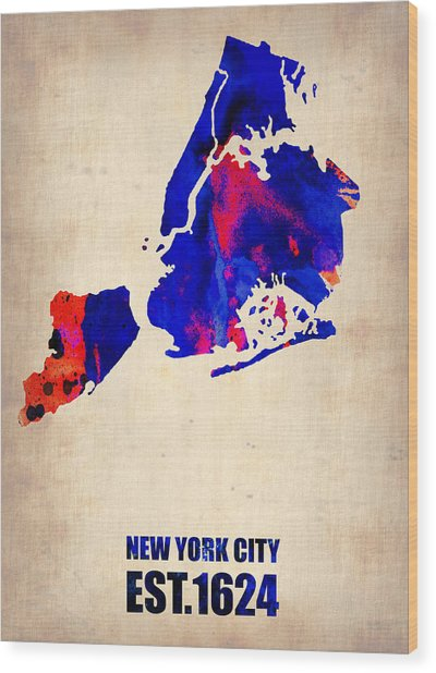 New York City Watercolor Map 1 Wood Print