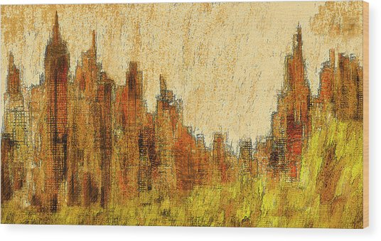 New York City In The Fall Wood Print