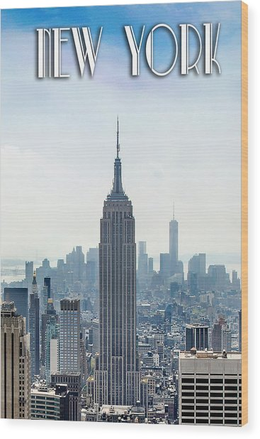 New York Classic View With Text Wood Print