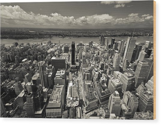 New York Husdon Wood Print