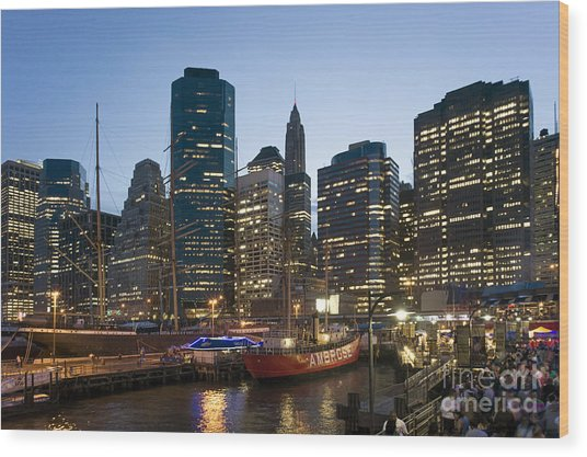 Wood Print featuring the photograph New York Manhattan Seaport by Juergen Held