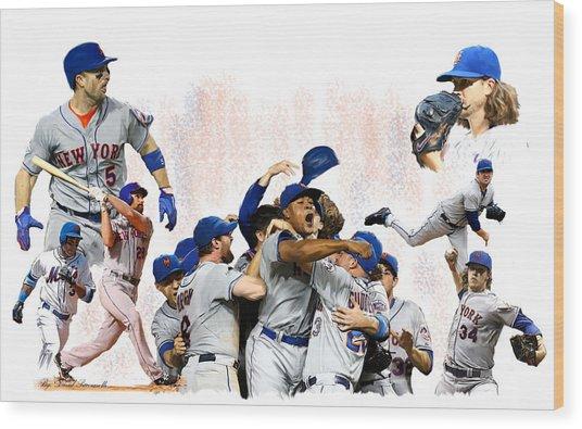 New York Mets 2015  Metropolitan Champions Wood Print