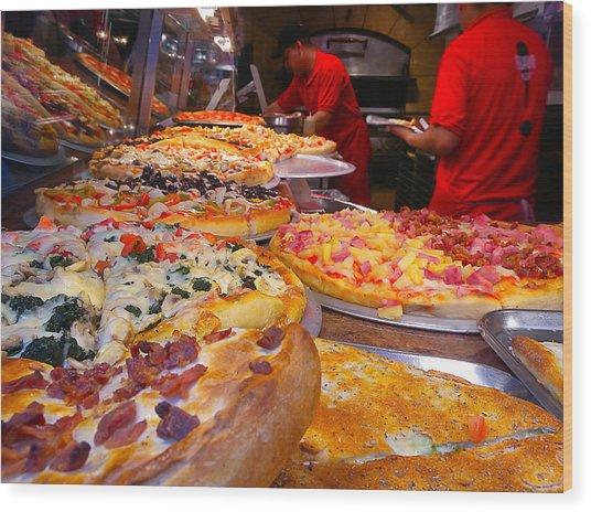 New York Pizza Wood Print