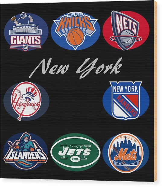 New York Professional Sport Teams Collage  Wood Print