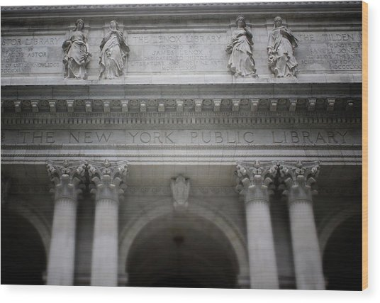 New York Public Library- Art By Linda Woods Wood Print