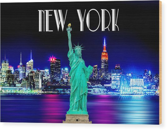 New York Shines Wood Print