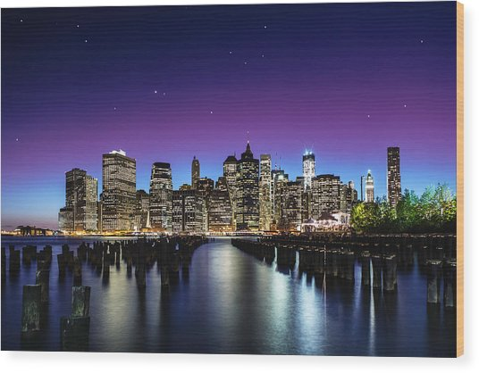 New York Sky Line Wood Print