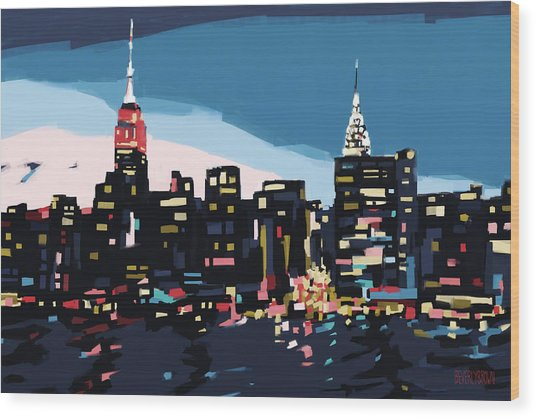 New York Skyline At Dusk In Navy Blue Teal And Pink Wood Print