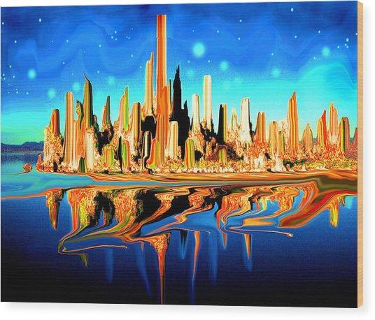New York Skyline In Blue Orange - Modern Fantasy Art Wood Print