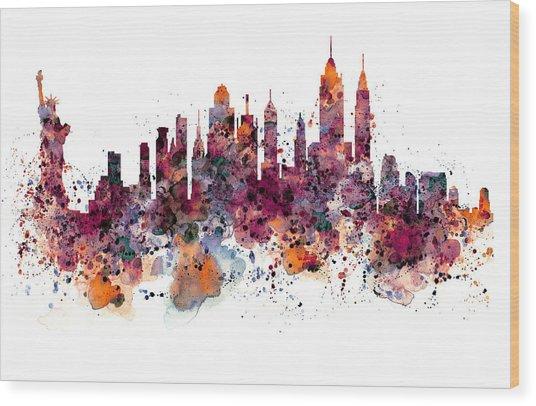 New York Skyline Watercolor Wood Print
