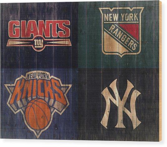 New York Sports Teams Rustic Wood Wood Print