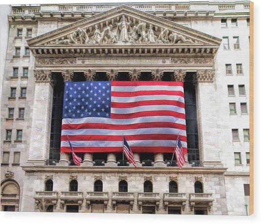New York Stock Exchange Flag Wood Print