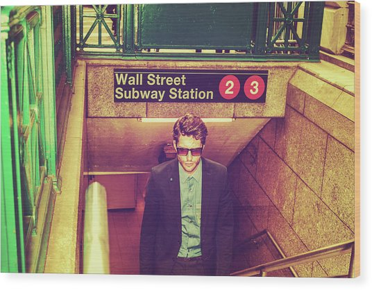 New York Subway Station Wood Print