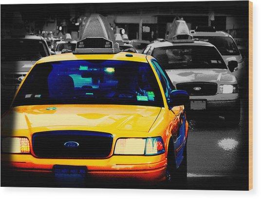 New York Taxi Wood Print