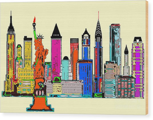 New York - The Big City Wood Print