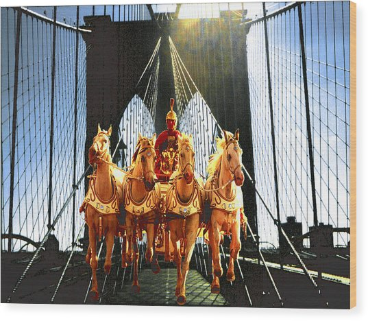New York Brooklyn Bridge Fantasy Collage Wood Print