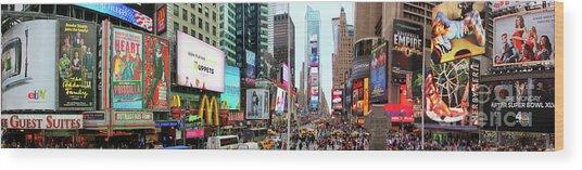 New York Times Square Panorama Wood Print