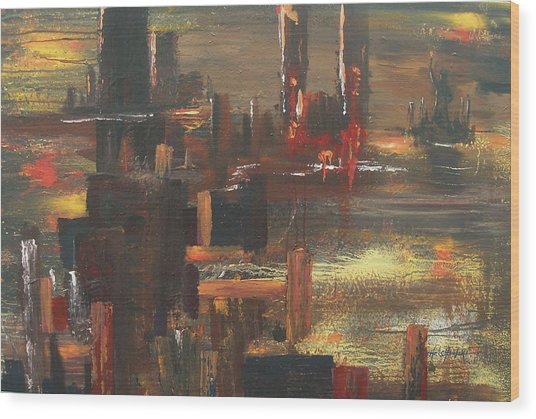 New York Tragedy Wood Print by Miroslaw  Chelchowski