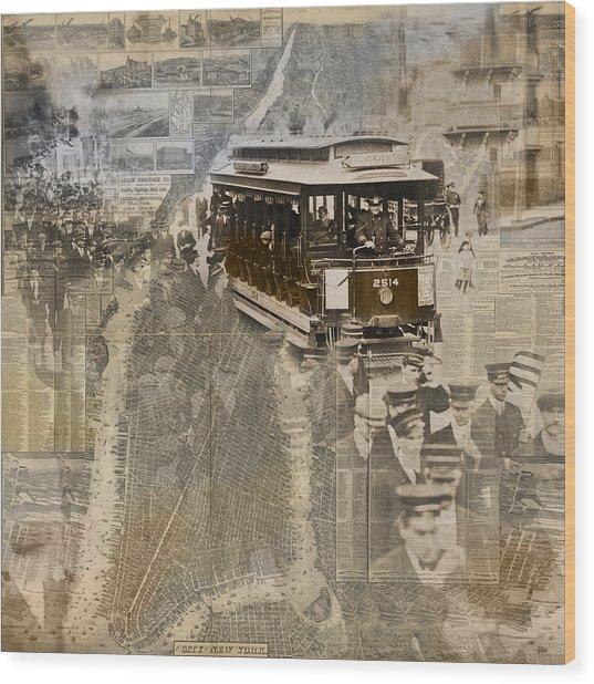New York Trolley Vintage Photo Collage Wood Print