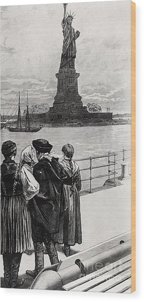 New York  Welcome To The Land Of Freedom Wood Print