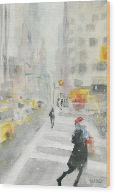 New York Winter 57th Street Wood Print