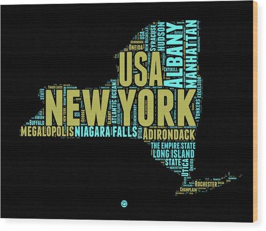 New York Word Cloud Map 1 Wood Print