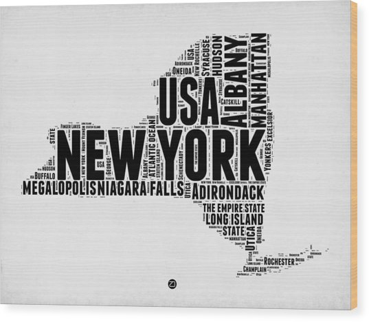 New York Word Cloud Map 2 Wood Print