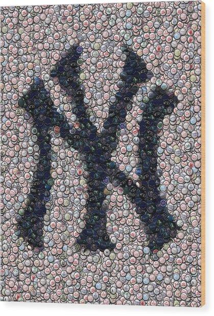 New York Yankees Bottle Cap Mosaic Wood Print